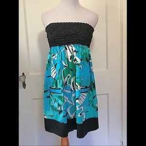 {Bebe} Strapless Silk Dress, S
